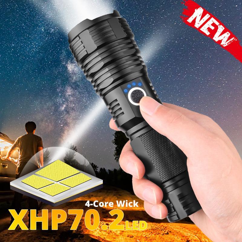 200000LM XHP50 XHP70 XHP90 XHP160 LED Flashlight Zoom Tactical Torch 18650//26650